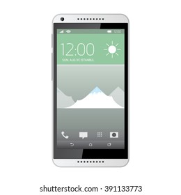 Elegant realistic smartphone with screen icons.