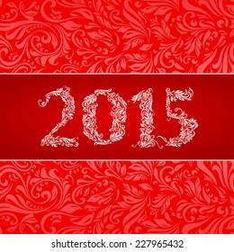 Elegant red banner for year 2015 over ornate floral pattern background