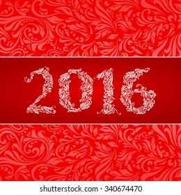 Elegant red banner for year Twenty-Sixteen over ornate floral pattern background