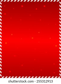 Elegant red frame with candy cane border and falling snow