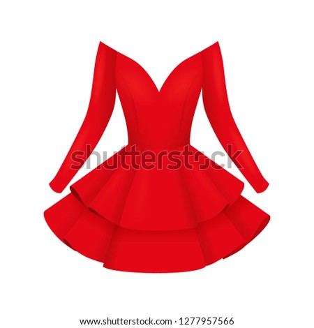 36789180c997ca Elegant red women cocktail dresses, fashion clothes with short skirt, flat style  vector illustration