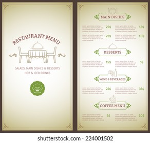 Elegant restaurant menu list with decorative elements vector illustration