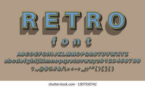 A Elegant Retro 3d Bold Font Effect With  Shadow Effect Vintage vector alphabet