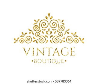 Elegant retro flourish decor. Vintage logo design with gold glitter texture. Baroque style ornament for boutique; restaurant; cafe; flower shop emblem. EPS 10 vector illustration. Clipping mask.