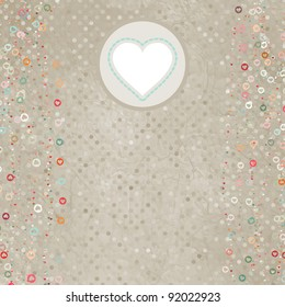 Elegant retro light card with hearts. And also includes EPS 8 vector