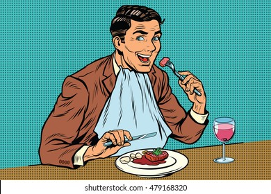 Elegant retro man eats in the restaurant and drinking wine, pop art retro comic book illustration