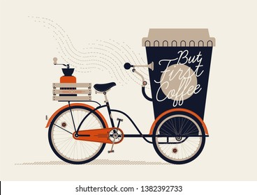 Elegant retro styled figurative vector illustration of take away coffee as giant paper coffee cup bicycle cart with lid, coffee grinder on rack and handwritten lettering. Coffee lovers themed art