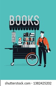 Elegant retro styled vector illustration of bookseller standing next to portable book shop stand. Small bookshop stand with secondhand books. Ideal for book themed graphic and web design