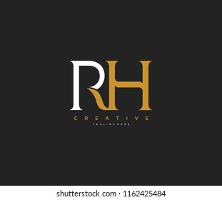 Elegant RH Letter Linked Monogram Logo Design