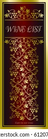 Elegant richly decorated wine list template on deep red background with bunches of grapes.