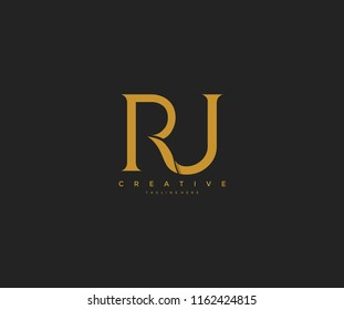 Elegant RJ Letter Linked Monogram Logo Design
