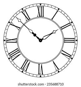 Elegant roman numeral clock. EPS-10