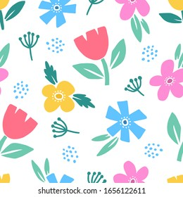 Elegant romantic colorful seamless floral pattern with wild colorful flowers. Hand drawn background. Ditsy print. Perfect for fabric, manufacturing, textile etc. Vector illustration