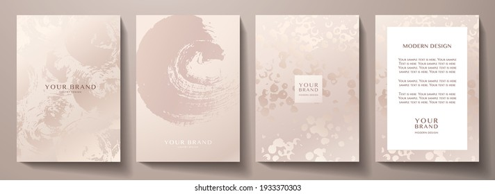 Elegant rose gold cover, frame design set. Fashionable minimal abstract art pattern with paint stroke (brush) on background. Luxury artistic vector for beauty catalog, fashion template, wedding