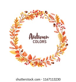 Elegant round frame, garland, wreath or border made of colorful fallen oak leaves, acorns and berries and Autumn Colors inscription inside. Natural decorative vector illustration in modern flat style.