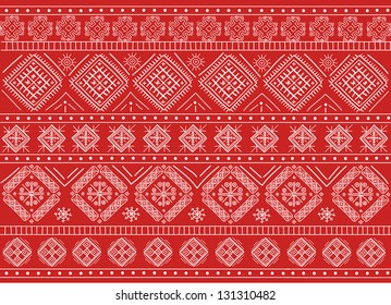 Elegant Russian Ornament Background Red in Vector