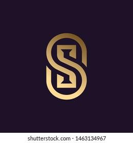Elegant S logo design, SI monogram, Gold/metallic Letter S .vector