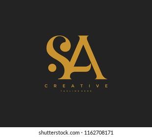 Elegant SA Letter Linked Monogram Logo Design
