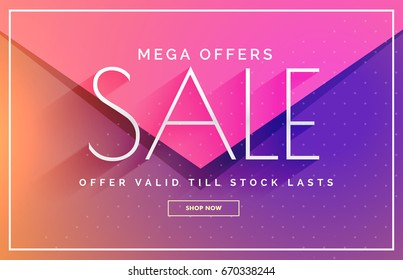 elegant sale banner voucher template design in pink and purple shades