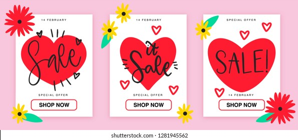 Elegant sale and discount promo backgrounds for St Valentine's Day. Email ad newsletter layouts