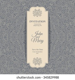 Elegant Save the Date card design. Vintage floral invitation card template. Luxury swirl mandala greeting card.