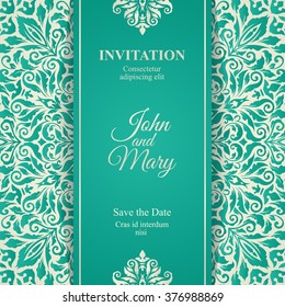 Elegant Save The Date card design. Vintage floral invitation card template. Luxury swirl greeting card.