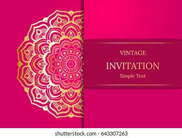 Elegant Save The Date card design. Vintage floral invitation card template. Luxury swirl mandala greeting card, gold, pink