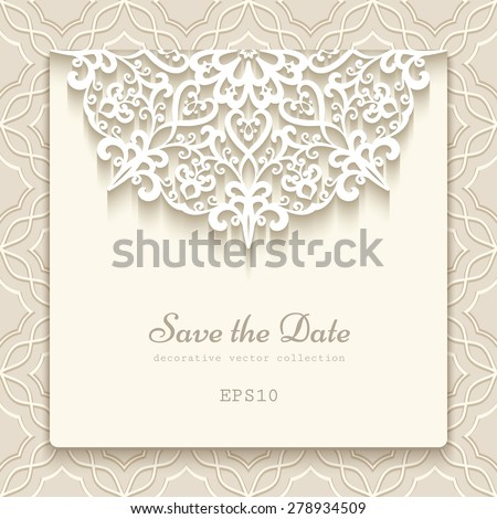 elegant save date card lace decoration のベクター画像素材