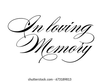 Elegant script wedding sign vector in loving memory