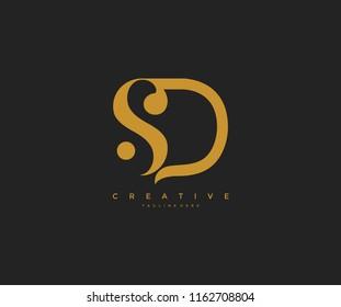 Elegant SD Letter Linked Monogram Logo Design