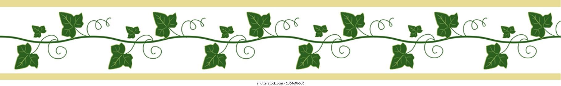 Elegant seamless border, ivy ribbon for decor. Floral frame. Vector hand drawn illustration. White background.