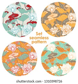 Elegant Seamless floral pattern with Water Lilies Nymphaea and Dragonflies , botanical illustration. Pond with lotus. Design for textiles, fabrics, paper, wallpaper. Vector