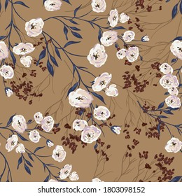 Elegant seamless graphic pattern with rose branches