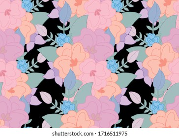 Elegant seamless pattern with abstract flowers, design elements. Floral  pattern for invitations, cards, print, gift wrap, manufacturing, textile, fabric, wallpapers