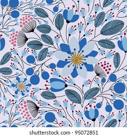 Elegant seamless pattern with blue flowers, vector illustration