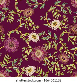 Elegant seamless pattern of bordo flowers of chrysanthemums and gerberas, twigs and leaves on a purple background. Vector illustration with floral ornaments.