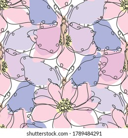 Elegant seamless pattern with butterfly and anemones, design elements. Floral  pattern for invitations, cards, print, gift wrap, manufacturing, textile, fabric, wallpapers. Continuous line art style