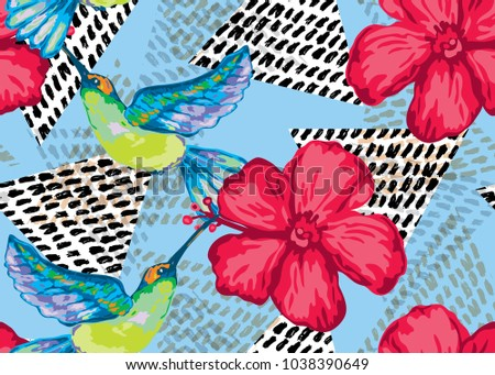 Elegant Seamless Pattern Colibri Hibiscus Design Stock Vector