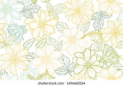 Elegant seamless pattern with dahlia flowers, design elements. Floral  pattern for invitations, cards, print, gift wrap, manufacturing, textile, fabric, wallpapers