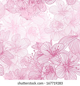 elegant seamless pattern with decorative cherry blossoms for your design