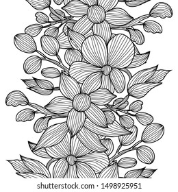 Elegant seamless pattern with decorative flowers, design elements. Floral  pattern for invitations, cards, print, gift wrap, manufacturing, textile, fabric, wallpapers