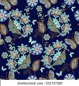 Elegant seamless pattern with fantastic flowers in blue colors. Decorative ornament for fabric, textile, wrapping paper. Traditional oriental seamless paisley pattern.