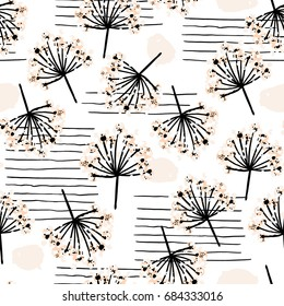 Elegant seamless pattern with flower branch. Scandinavian style vector background. Great for fabric,textile,wallpaper