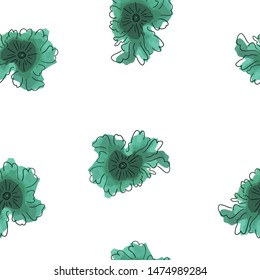Elegant Seamless pattern with flowers Dark moderate cyan color. Can be used for printing on packaging, bags, cups, laptop, box, etc. Pattern under the mask. Vector.
