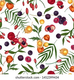 Elegant seamless pattern with fresh goji, acai, guarana, physalis fruits and berries on white background. Backdrop with organic superfoods. Natural vector illustration for fabric print, wallpaper.