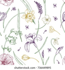 Elegant seamless pattern with gorgeous blooming spring flowers hand drawn with contour lines on white background. Natural vector illustration for fabric print, wallpaper, wrapping paper, backdrop.
