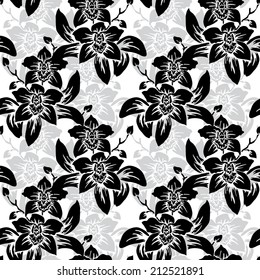 Elegant seamless pattern with hand drawn decorative orchid flowers, design elements. Floral pattern for wedding invitations, greeting cards, scrapbooking, print, gift wrap, manufacturing.