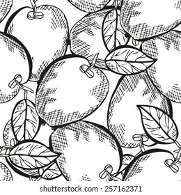 Elegant seamless pattern with hand drawn decorative apples, design elements. Can be used for invitations, greeting cards, scrapbooking, print, gift wrap, manufacturing. Food background