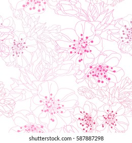 Elegant seamless pattern with hand drawn decorative cherry blossom flowers, design elements. Floral pattern for wedding invitations, greeting cards, scrapbooking, print, gift wrap, manufacturing