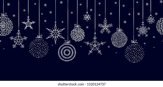 Elegant seamless pattern with hanging Christmas balls and stars. Hand drawn and creative baubles - Vector Illustration.